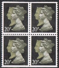 GB SG1476l/n 1990 Penny Black 20p pane of 4 ex booklet unmounted mint